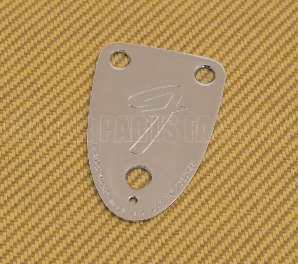 "005-5259-000 Fender Bass 3 Bolt Logo /""F/"" 70s Style Tilt Chrome Neck Plate"