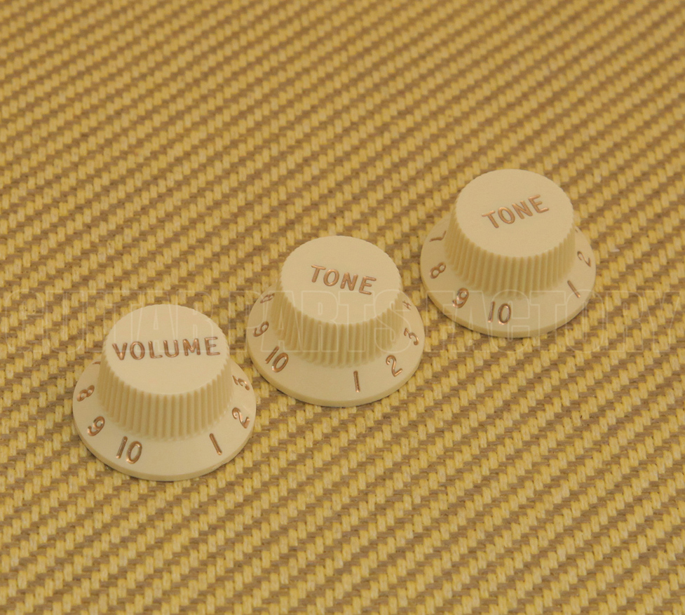 Genuine Fender Original Gold Dome Knobs Tele//P Bass Solid Shaft 099-2056-200