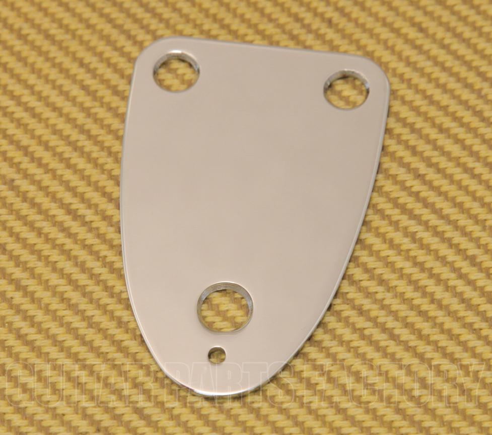 """Genuine Fender 70s Vintage 3-Bolt /""""F/"""" Stamped Logo Guitar Neck Plate CHROME"""
