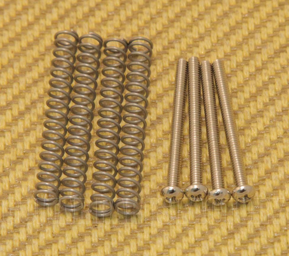 4 HUMBUCKER HEIGHT ADJUSTMENT SCREWS Phillips /& SPRINGS in Nickel Black or Gold