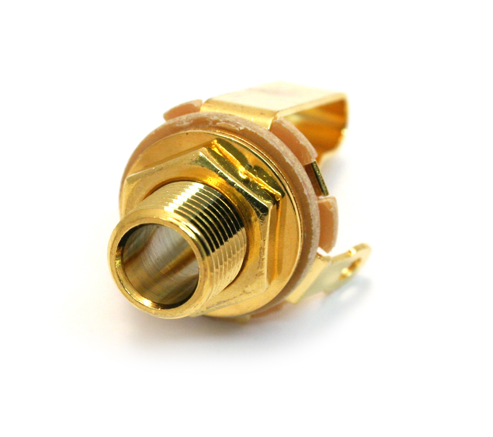 Acoustic guitar jack socket strap pin in gold screw in 2 pole